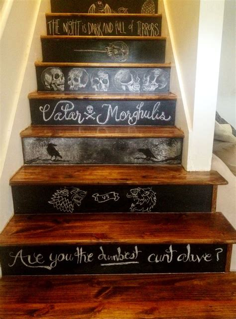 game of thrones decor game of thrones themed chalkboard stairs gameofthrones