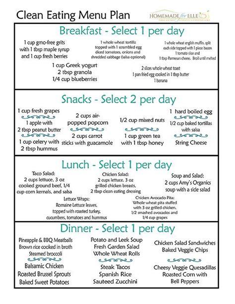 printable clean eating plan clean eating meal plan homemade clean eating meal plan