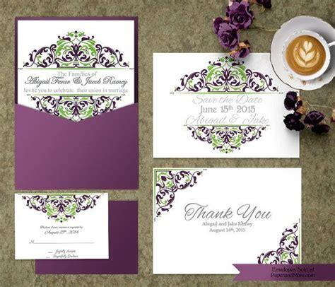purple green wedding invitation templates purple and