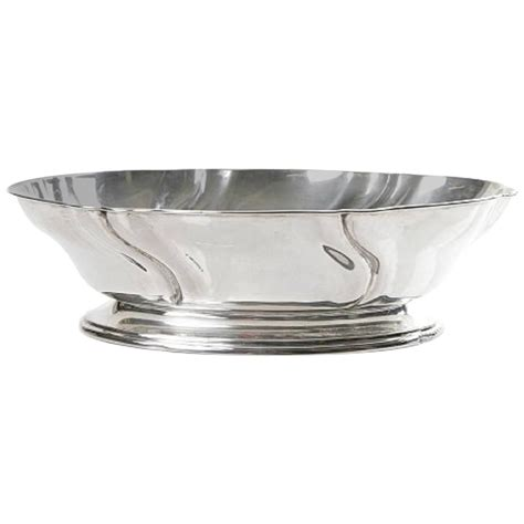 large silver bowl c g hallberg sweden rococo style for