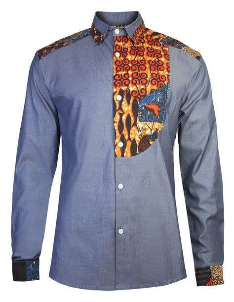 african wear dresses for men men s african print shirt slim fit half bib front detail