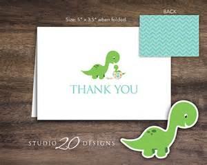 instant dinosaur thank you card folded teal orange