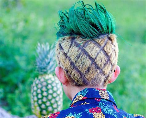 pineapple on hair this guy s cousin made his hair look like a pineapple