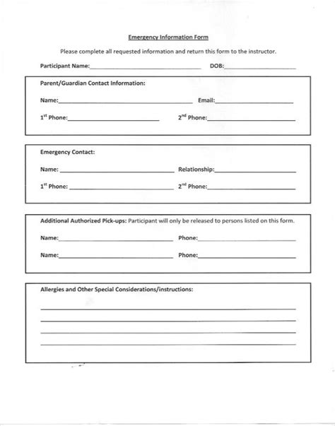 emergency contact form template emergency contacts form