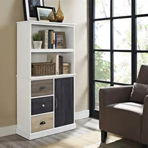 altra mercer storage bookcase with multicolored door and