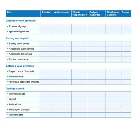 detailed table form of business action plan template with