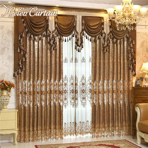 helen curtain luxury gold embroidered curtains  living