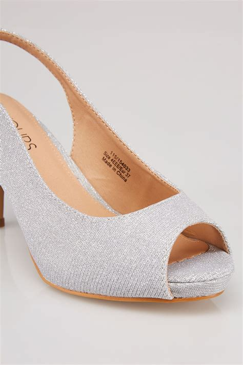 Anya V2 Patent Lower Heel silver glittery peep toe sling back heels in eee fit
