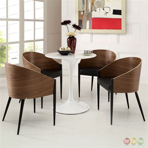 Curved Wood Dining Chair Set Of 4 Cooper Wood Grain Wide Curved Back Dining Chairs W Cushion Walnut