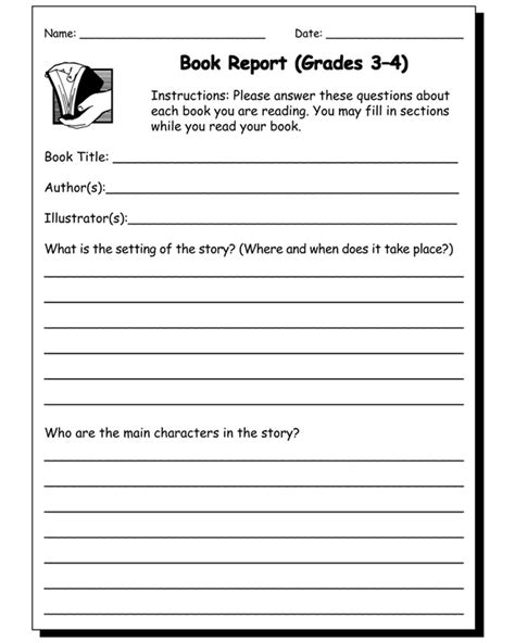 4th grade book report templates 6 best images of grade book report printables 2nd
