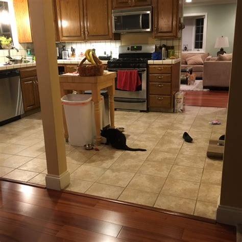 kitchen flooring transition  dining