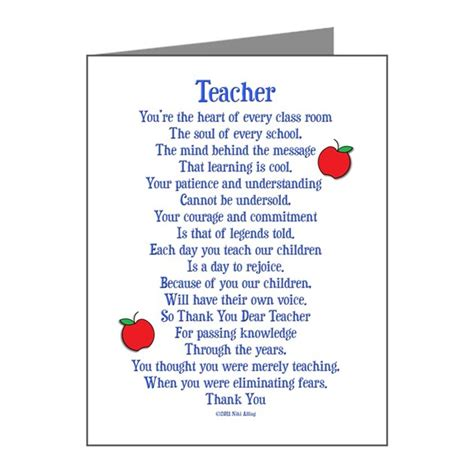 printable thank you notes from teachers to students teacher thank you note cards pk of 10 by nikiclix