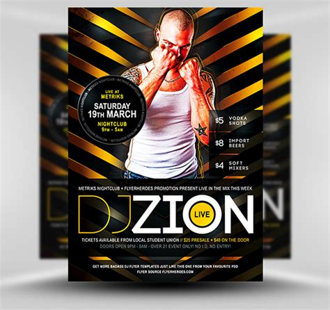 flyer design dj zion free dj nightclub flyer template