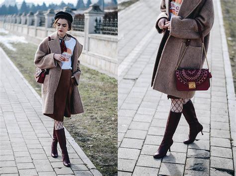 Camel Winter Skirt Y823 andreea birsan newsboy cap camel coat wrap skirt burgundy knee high boots fishnet tights