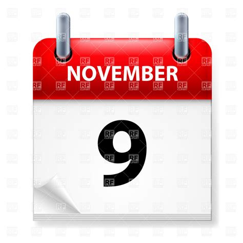 9 November November 9 november 9 calendar icon royalty free vector clip