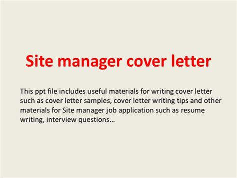Cover Letter For Site Site Manager Cover Letter
