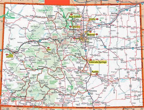 detailed map of colorado usa road and highways map of colorado state colorado state