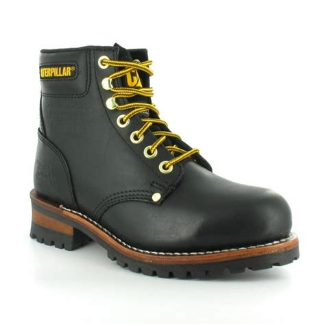 Caterpillar Leather Boots Safety Toe Black caterpillar cat sequoia mens leather steel toe safety boots black casual boots from