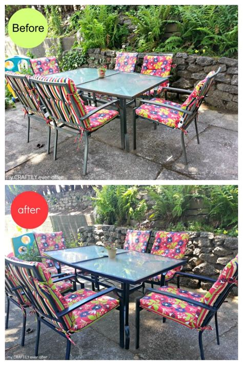 Patio Table Paint Easy Patio Furniture Makeover My Craftily After