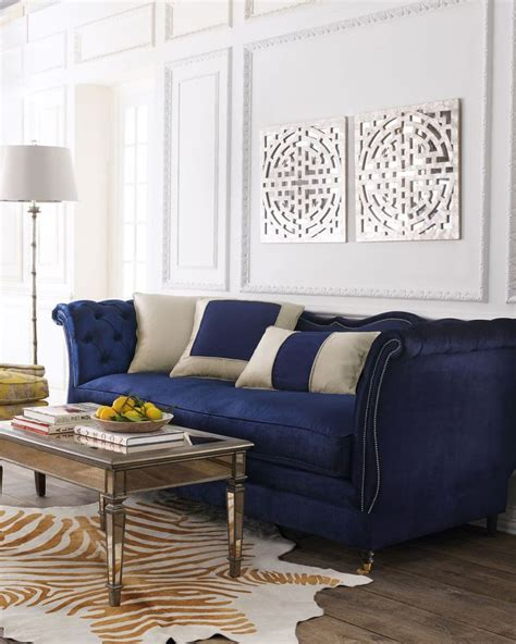 navy blue velvet couch blue velvet tufted sofa images