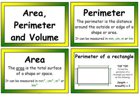 printable area and perimeter posters area perimeter volume poster display pack