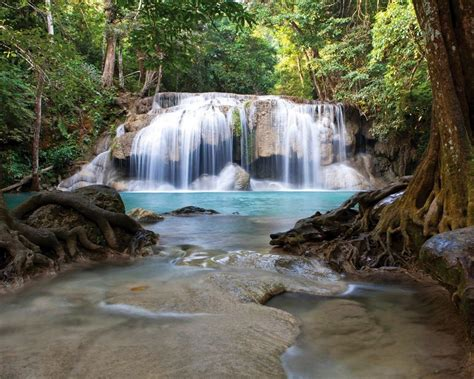 waterfall erawan national park thailand