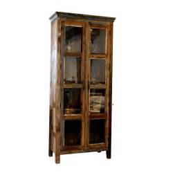 armoire vitr 233 e 2 portes en bois recycl 233