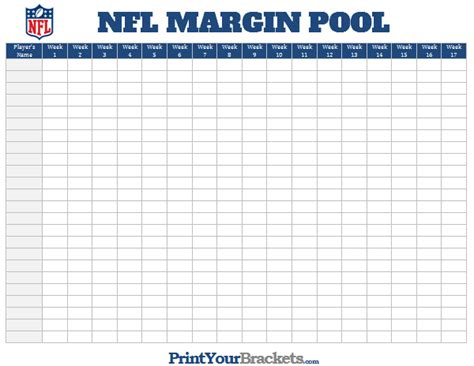 Office Football Pools by Nfl Margin Pool Printable Point Margin Office Pool