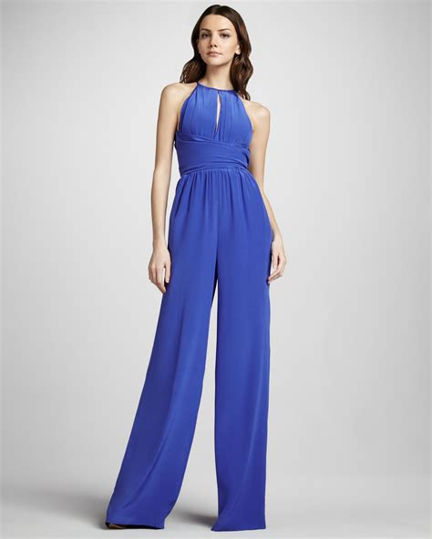 L Jumsuit lyst l agence keyhole wideleg jumpsuit in blue