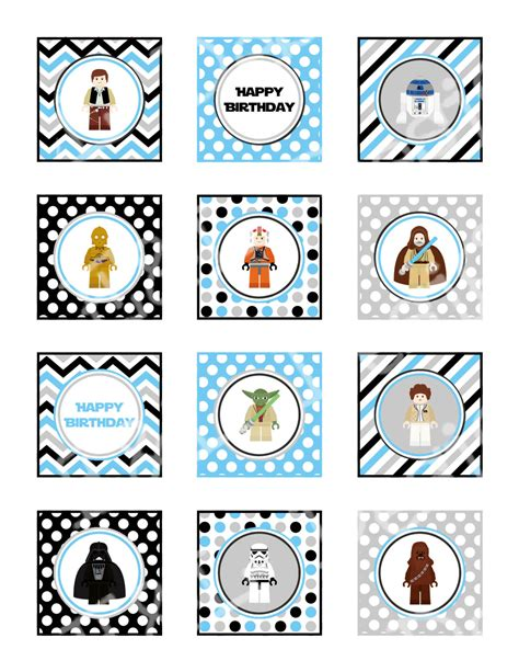 printable lego star wars cupcake toppers star wars 2 cupcake toppers and wrappersbirthday party