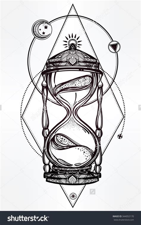 hand drawn romantic beautiful drawing of a hourglass