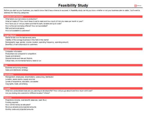 feasibility study templates  word excel business templates