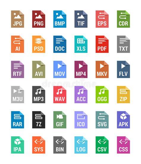imagenes tipo vector iconos planos de los tipos de archivo archivo vector