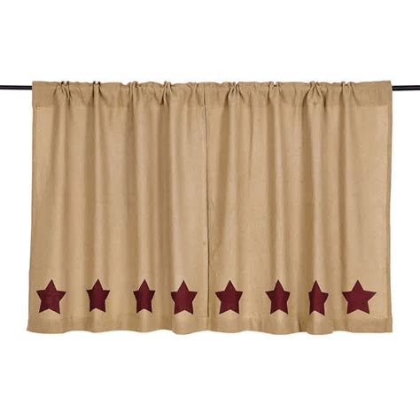 36 x 36 curtains burlap w burgundy stencil stars curtain tiers 36 quot x 36 quot vhc