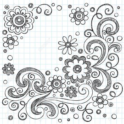 paper design elements 25 vector hand drawn flowers back to school sketchy notebook doodles
