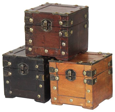 Home Decor Trunks Mini Chest Assorted Colors Set Of 3 Traditional Decorative Trunks By Vintique Wood