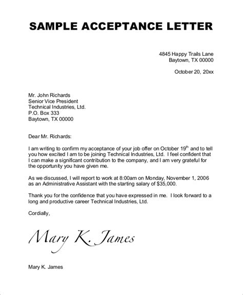 Sle Of A Meeting Acceptance Letter Sle Acceptance Letter 7 Exles In Word Pdf