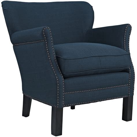 Armchair Upholstered by Key Modern Low Back Upholstered Armchair W Nail Trim Wood Legs Azure