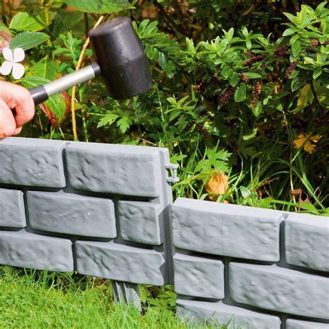 Landscape Edging Grey Grey Terracotta Style Garden Edging Brick Effect Plastic