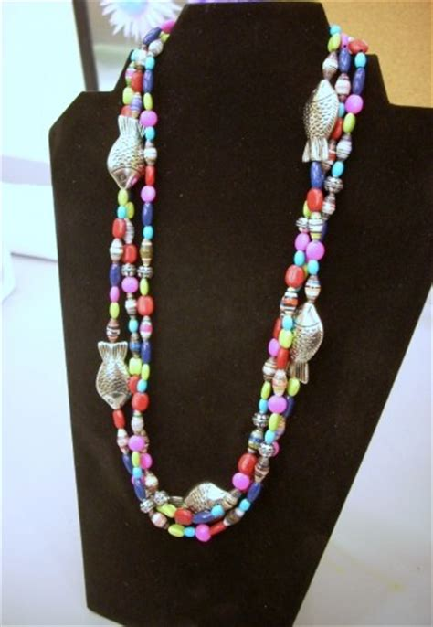 Paper Bead Jewelry Ideas - mulit strand paper bead necklace vicki odell