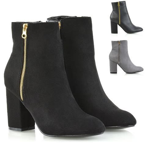 ankle boots with heels womens ankle boots block mid high heel boots metal