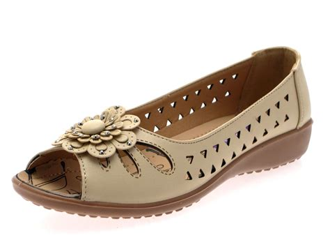 flat shoes womens faux leather comfort cut out flat shoes flower
