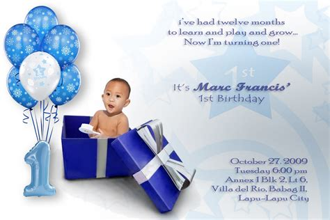 1st year birthday card template boronganon invitation card on marc s 1st birthday