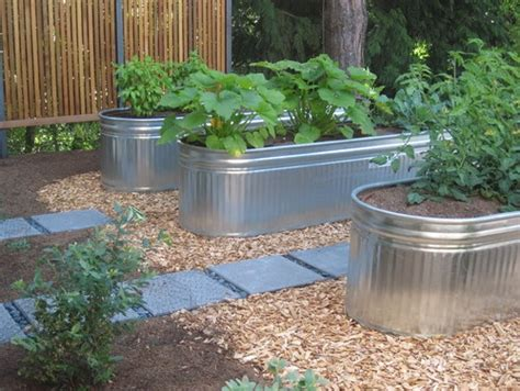 Metal Garden Planters Troughs by Galvanized Water Troughs For Garden Beds Landscaping