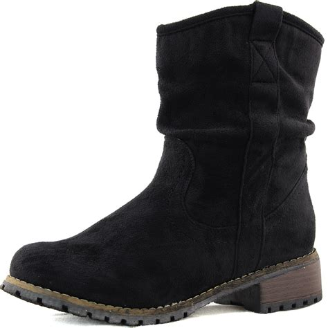 black ankle boots fashion combat slouch low heel