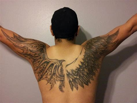 angel wing tattoo on back wings search tattoos