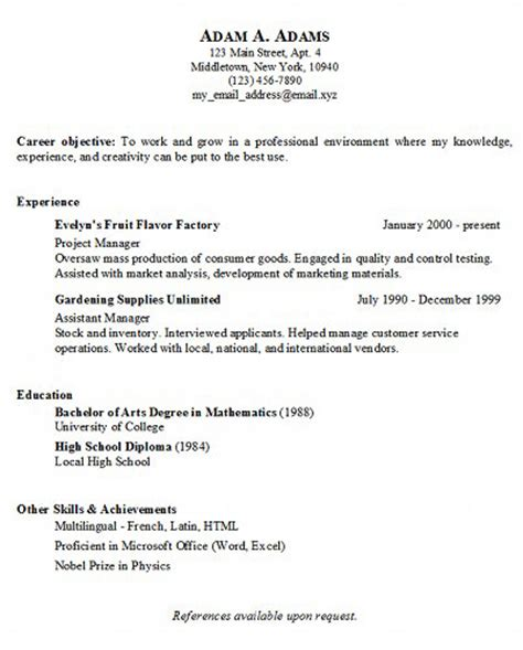 Resume Exles To Copy And Paste Basic Resume Generator Middletown Thrall Library