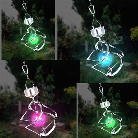 outdoor solar hanging lights rgb colorful solar led garden lights spinning with wind