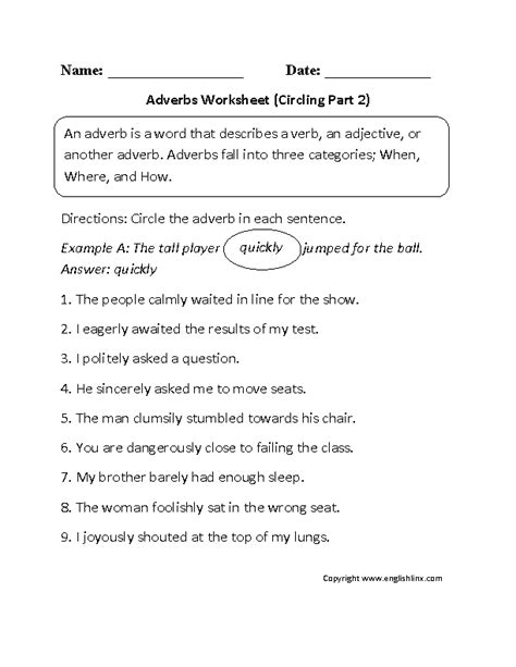 adverbs worksheets for grade 2 pdf 16 best images of sentences and subject predicate
