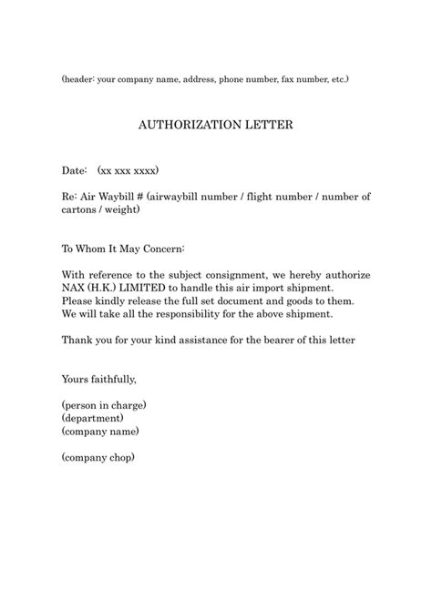 Rent Authority Letter Exle How To Write An Authorization Letter Pdf Cover Letter Templates